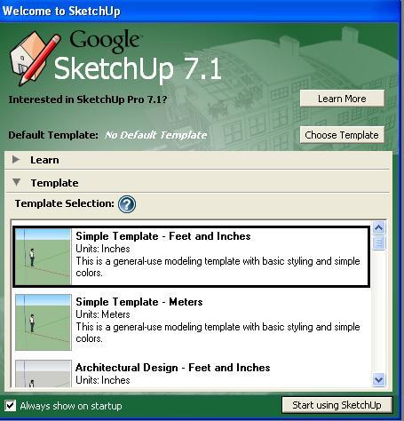 klik Start using SketchUp, maka akan masuk ke jendela kerja SketchUp
